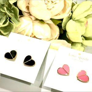 KATE SPADE large Heritage heart stud earrings NWT